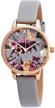 Olivia Burton Dark Bouquet Grey Dial Ladies Watch