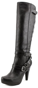 G by Guess Theorry Women Pointed Toe Synthetic Black Knee High Boot.