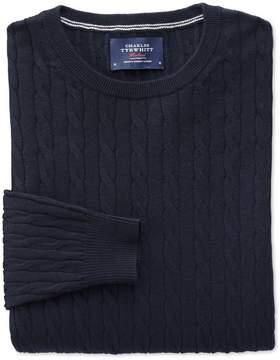 Charles Tyrwhitt Navy Cotton Cashmere Cable Crew Neck Cotton/Cashmere Sweater Size XL
