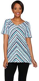 Bob Mackie Bob Mackie's Printed Hi-Low Hem Short SleeveKnit Top