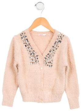 Billieblush Girls' Textured Embellished Cardigan