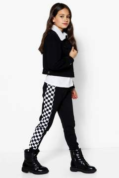 boohoo Girls Checkerboard Panel Jogger