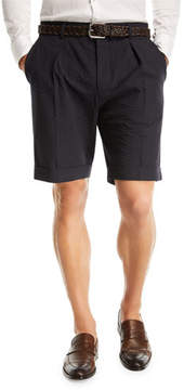 BOSS Pierce Wide Pleated Seersucker Shorts