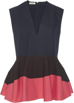 DELPOZO Color-Block Peplum Top