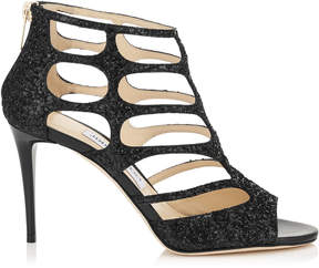 Jimmy Choo REN 85 Black Coarse Glitter Fabric Sandals