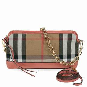 Burberry House Check and Leather Clutch - Cinnamon Red
