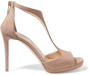 Jimmy Choo Lana 100 Suede Sandals - Beige