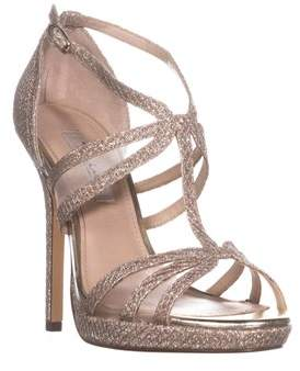 Nina Fanetta T-strap Evening Sandals, Silver Diamond.