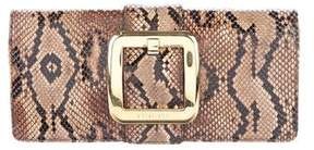 Michael Kors Snakeskin Buckle-Accented Clutch - ANIMAL PRINT - STYLE