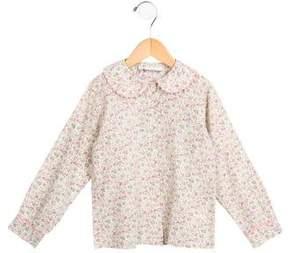 Rachel Riley Girls' Floral Print Button-Up Top