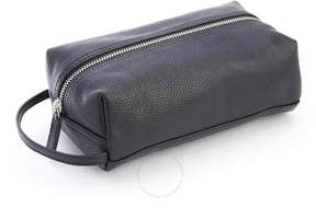 Royce Leather Royce Black Pebbled Leather Compact Toiletry Bag