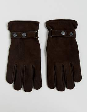 French Connection Suede Gloves In Brown
