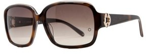 Montblanc Mb 358/s 56f Havana Rectangular Sunglasses.