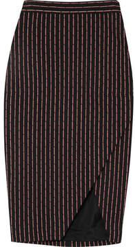 Altuzarra Wilcox Wrap-effect Pinstriped Cotton-blend Midi Skirt - Black