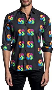 Jared Lang Trim Fit Rainbow Knot Sport Shirt