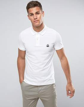 Benetton Muscle Fit Polo Shirt In White