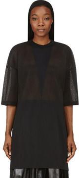 Calvin Klein Collection Charcoal Grey Micro Pleat Intarsia Oversize Top