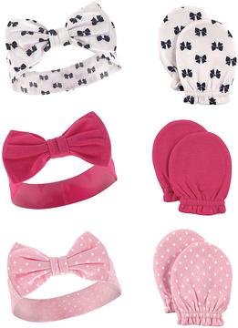 Pink Bow Headband & Scratch Mitten Set