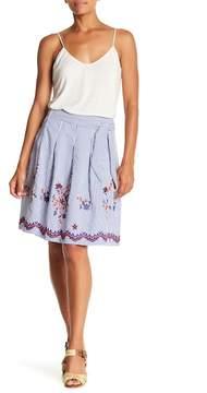 Nine West Embroidered Stripe Flare Skirt