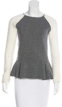 Timo Weiland Knit-Trimmed Peplum Sweater