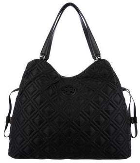 Tory Burch Leather-Trimmed Tote - BLACK - STYLE