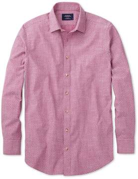 Charles Tyrwhitt Slim Fit Berry Red and White Spot Print Cotton Casual Shirt Single Cuff Size Medium