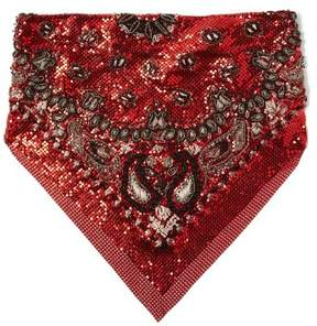 Saint Laurent – Paisley Sequin Embellished Chainmail Bandana – Womens – Red