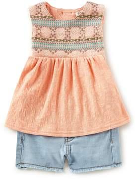 Jessica Simpson Baby Girls 12-24 Months Embroidered Tank Top & Denim Shorts Set