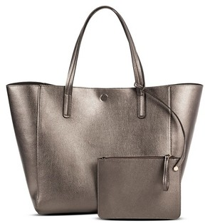 Merona Women's Reversible Faux Leather Tote Handbag