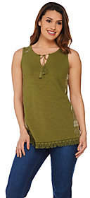 C. Wonder Sleeveless Knit Top w/ EmbroideredSide Panels