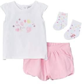 Absorba Girls' 3pc Shirt, Short, & Sock Set.
