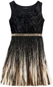 My Michelle Girls 7-16 Foil Pleated Velvet Dress