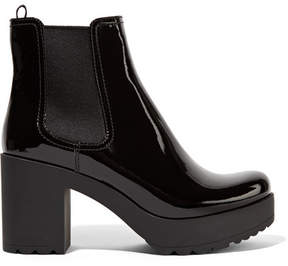 Prada - Patent-leather Ankle Boots - Black