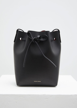Mansur Gavriel black / flamma mini bucket bag