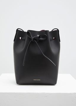 Mansur Gavriel black / flamma mini bucket bag