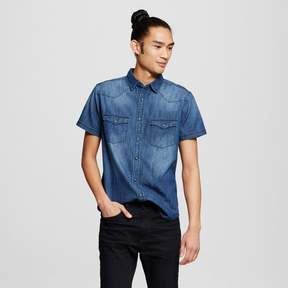 Mossimo Men's Short Sleeve Denim Shirt Blue