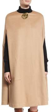Co Textured Flannel Cape with Lunar Embellishment, Camel