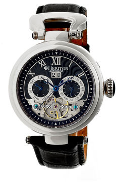 Heritor Automatic Ganzi Mens Leather Day&Date-Silver/Black Watches