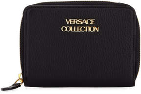 Versace Saffiano Leather Small Wallet, Black