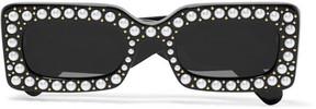 Gucci - Embellished Square-frame Acetate Sunglasses - Black