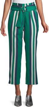 J.o.a. Striped Paperbag Cropped Pants