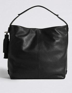 Leather Tassel Hobo Bag