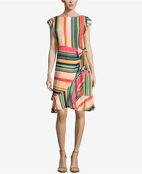 ECI Striped Faux-Wrap Dress