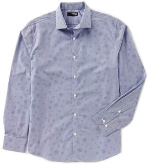 Murano Slim-Fit Liquid Luxury Long Sleeve Spread Collar Bubbles Shirt