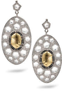 Coomi Opera Gold Center Oval Drop Earrings