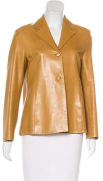 Celine Leather Notch-Lapel Jacket