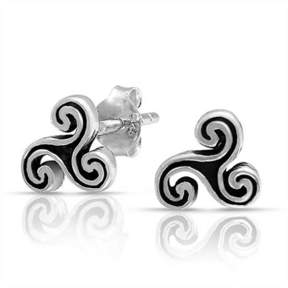 Celtic Bling Jewelry Trinity Triskele Spiral Stud Earrings 925 Sterling Silver 7mm.