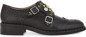 Maje Frantz leather studded Derby shoes