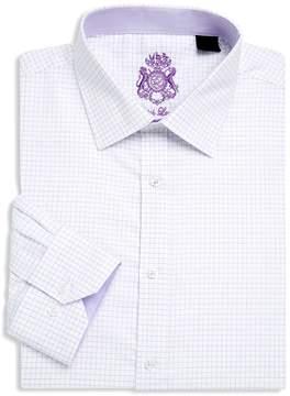 English Laundry Men's Windowpane Cotton Dress Shirt
