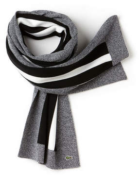 Lacoste Men's Striped Lightweight Ribbed Wool Scarf
